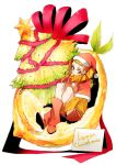 blonde_hair boots capelet christmas_tree food fruit hair_ribbon hat kasugano_urara lemon long_hair precure ribbon santa_costume santa_hat solo tima twintails yellow_eyes yes!_precure_5