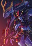 absurdres armor blue_skin dragon gauntlets highres horned_helmet horns league_of_legends long_hair oz_(gerbera7) purple_hair red_eyes shyvana solo yellow_eyes