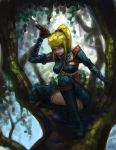 armor blonde_hair blue_eyes crossover drawfag in_tree long_hair mario_grant metroid monster_hunter nargacuga_(armor) over_shoulder ponytail samus_aran scrunchie sitting sitting_in_tree solo sword sword_over_shoulder thigh-highs thighhighs tree weapon weapon_over_shoulder