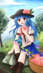 1girl basket blouse blue_hair blue_sky boots bow bush clouds cross-laced_footwear food fruit grass hat highres hinanawi_tenshi knee_up leaf long_hair looking_at_viewer moss open_mouth outdoors peach red_eyes sitting_on_rock skirt sky solo touhou tree yuyumi_(yuurei)