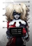 batman_(series) blonde_hair blue_eyes chain chains cowboy_shot dc_comics female frills gloves handcuffs harley_quinn jay_phenrix lipstick looking_at_viewer makeup mask mug_shot mugshot smug solo torn_clothes twintails watermark web_address