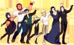 5boys ahoge assassin_(fate/zero) beard berserker_(fate/zero) black_hair blonde_hair carnival_phantasm caster_(fate/zero) danbi2021 dancing earrings facial_hair fate/zero fate_(series) female_assassin_(fate/zero) formal gilgamesh green_eyes hoop_earrings jewelry lancer_(fate/zero) long_hair mask mole multiple_boys multiple_girls necklace pant_suit parody ponytail purple_hair red_hair redhead rider_(fate/zero) robe saber skeleton_mask snakeskin_print suit t-shirt yellow_eyes