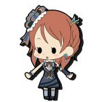 :d bow brown_hair chibi earrings hair_ornament hamidet houjou_karen idolmaster idolmaster_cinderella_girls jewelry long_hair lowres open_mouth skirt smile solo thigh-highs thighhighs vest wrist_cuffs
