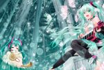 animal aqua_eyes aqua_hair bridal_gauntlets center_opening cherry_blossoms chibi elbow_gloves fingerless_gloves flower gloves hatsune_miku hatsune_miku_(append) highres instrument keytar long_hair looking_at_viewer miku_append open_mouth petals sitting smile tree tsukineko twintails very_long_hair vocaloid vocaloid_append