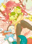 animalization blonde_hair blue_hair blush brown_eyes cuddles embarrassed flaky flippy green_hair happy_tree_friends highres hug laying_down long_hair looking_at_viewer lumpy lying mascot mask panties personification pillow poker puppet red_hair redhead short_hair skirt splendid underwear