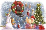 bell box branch chibi christmas christmas_lights christmas_ornaments christmas_stocking christmas_tree collar gift gift_box giggi gingerbread_man hat holly jingle_bell khezu_whelp monster monster_hunter nargacuga no_humans open_mouth reindeer_antlers santa_hat snowflakes snowman tail tigrex velociprey wreath yakiudon yian_kut-ku