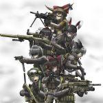 angreifer109 animal_ears assault_rifle benelli_m1014 bunny_ears bushmaster_acr fn_minimi fn_scar gloves grenade gun hakurei_reimu handgun hat helmet highres hk416 ibuki_suika izayoi_sakuya kirisame_marisa knife kochiya_sanae konpaku_youmu load_bearing_vest long_hair m110 m18_smoke_grenade m249 m4_carbine maaranto machine_gun military military_uniform multiple_girls operator pistol rabbit_ears reisen_udongein_inaba rifle shameimaru_aya short_hair shotgun smoke_grenade tokin_hat touhou uniform weapon witch_hat