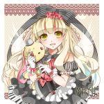 blonde_hair bow doll dress gloves highres mayu_(vocaloid) nou piano_print ribbon vocaloid weapon