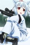 animal_ears gun hat inubashiri_momiji kusaba red_eyes rifle short_hair silver_hair sitting sniper_rifle snow solo tail tokin_hat touhou weapon wolf_ears wolf_tail