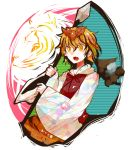 blonde_hair blush brown_hair fang hair_ornament jeweled_pagoda lance multicolored_hair open_mouth polearm ringetsumon short_hair skirt smile solo tiger toramaru_shou touhou two-tone_hair weapon yellow_eyes