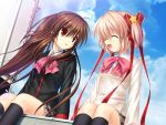game_cg hinoue_itaru kamikita_komari key key_(company) little_busters! long_hair multiple_girls na-ga natsume_rin ponytail ribbon school_uniform short_hair sitting smile