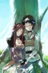 1boy 1girl against_tree armor black_hair blush breastplate breasts brown_hair choker cleavage closed_eyes demon_girl drooling eyes_closed fur_collar hand_holding happy_birthday holding_hands horns long_hair maou_(maoyuu) maoyuu_maou_yuusha rimorimo shade sleeping sleeping_upright smile tree yuusha_(maoyuu)