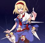 alice_margatroid alternate_costume blonde_hair blue_eyes blush bow capelet hair_bow hairband hourai hourai_doll lance long_hair open_mouth pantyhose polearm ponytail puppet_strings red_eyes shanghai shanghai_doll shield shirofox short_hair solo touhou weapon
