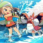 1girl ;) ^_^ bare_legs barefoot bike_shorts brown_hair chibi closed_eyes corphish gloves haruka_(pokemon) katou_tom ocean pokemon pokemon_(creature) pokemon_(game) pokemon_rse wading water wink