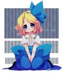 alice_margatroid alice_margatroid_(young) blonde_hair blue_eyes blush bow character_name hair_bow hair_ornament hair_ribbon hairband rarorimiore ribbon short_hair sitting skirt smile solo suspenders touhou wariza