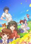 1boy 6+girls antenna_hair blue_eyes blue_hair bread brown_eyes brown_hair clannad flower food fujibayashi_kyou fujibayashi_ryou furukawa_nagisa grass ibuki_fuuko ichinose_kotomi long_hair mozuyun multiple_girls okazaki_tomoya okazaki_ushio purple_hair sakagami_tomoyo short_hair sky starfish yellow_eyes