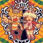 1boy 1girl chibi english ferrothorn halloween hikari_(pokemon) hikari_(pokemon)_(remake) jellicent jun_(pokemon) jun_(pokemon)_(remake) katou_tom pokemon pokemon_(creature) pokemon_(game) pokemon_dppt winter_clothes