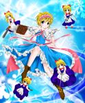 alice_margatroid at_kiwi blonde_hair bloomers blue_background blue_dress blue_eyes book boots bow capelet chainsaw dress epee flying gun hair_bow headband leg_up light_particles light_trace light_trail open_hand pistol ribbon sash shanghai shanghai_doll short_hair snowflakes straight_razor touhou weapon