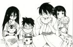 2girls ekra emperor_penguin fan glasses itoshiki_majiru itoshiki_nozomu japanese_clothes kimono komori_kiri long_hair monochrome multiple_boys multiple_girls open_mouth paper_fan sayonara_zetsubou_sensei short_hair smile tsunetsuki_matoi uchiwa watermark yukata