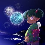 bow cotton_candy dark_skin eyepatch fireworks green_hair hair_bobbles hair_ornament highres isadora_finnsdottir japanese_clothes kimono lotte_no_omocha! pink_eyes pointy_ears reaching sakurabe_notosu short_hair solo twintails yukata