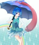 blue_eyes blue_hair colored dududunune8 error hand_on_hip heterochromia highres karakasa_obake long_sleeves messy_hair rain rainbow red_eyes short_hair skirt sleeves_rolled_up smile solo tatara_kogasa tongue touhou umbrella