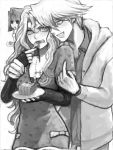 2girls cake casual clenched_teeth food fork jounouchi_katsuya kujaku_mai long_hair mazaki_anzu monochrome multiple_girls tegaki toji_ko wrist_grab yu-gi-oh! yuu-gi-ou yuu-gi-ou_duel_monsters