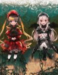 aoki_(fumomo) blonde_hair bonnet boots bowtie capelet drawr dress flower frilled_sleeves gothic_lolita hairband high_heels lolita_fashion long_hair mary_janes multiple_girls red_dress rose rozen_maiden shinku shoes silver_hair sitting souseiseki suigintou twintails vines white_rose wings