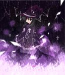 akemi_homura black_hair cross dress_shirt ghost_tail hat homulilly mahou_shoujo_madoka_magica purple_eyes remoyona shirt solo violet_eyes wings witch_hat