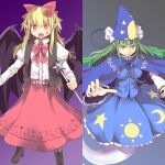 :d blonde_hair boots bow bowtie cape chain chains column_lineup cross-laced_footwear culter demon_wings elis_(touhou) fingernails flower ghost green_eyes green_hair hair_bow hair_flower hair_ornament hat long_fingernails long_hair long_skirt long_sleeves mima multiple_girls open_mouth outstretched_hand pointy_ears puffy_long_sleeves puffy_sleeves red_eyes skirt skirt_set slit_pupils smile smirk touhou vest wand wings