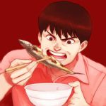 akira black_hair bowl brown_eyes chopsticks eating fish kaneda_shoutarou lafolie open_mouth red_background short_hair solo teeth