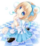 alice_margatroid alice_margatroid_(young) blonde_hair blue_eyes bubble bubble_blowing checkered checkered_floor hair_ribbon highres mary_janes ribbon shoes short_hair shounen_(hogehoge) sitting skirt smile solo touhou wariza