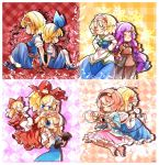 alice_margatroid alice_margatroid_(young) back-to-back blonde_hair blue_dress blue_eyes boots capelet carrying close-up crescent crossed_arms cup doll_joints dress dual_persona eyeball fifiruu hair_ribbon hairband hand_holding heart heart_of_string holding_hands komeiji_satori mary_janes medicine_melancholy multiple_girls no_hat no_headwear patchouli_knowledge pink_hair ribbon shoes short_hair shoulder_carry skirt smile su-san third_eye touhou
