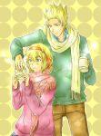 bad_id belgium_(hetalia) blonde_hair brother_and_sister cup green_eyes hair_ribbon mug netherlands_(hetalia) ribbon scarf siblings spiked_hair spiky_hair sweater