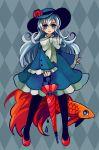 argyle argyle_background blue_eyes blue_hair bow curly_hair dress fish flower frills hat long_hair long_sleeves original pantyhose ruffles shoes smile solo teardrop umbrella yuzawa_risato