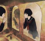 bathroom black_eyes black_hair kumaori_jun lipstick mirror mole original reflection school_uniform serafuku shadow solo