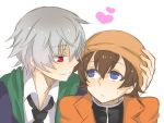 2boys akise_aru amano_yukiteru blue_eyes brown_hair eye_contact grey_hair hand_on_another's_head hand_on_head hat heart jacket looking_at_another male mirai_nikki multiple_boys necktie red_eyes serious short_hair silver_hair smile sweat yaoi