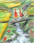 aki_shizuha barefoot bird grass kobushi log nature outside river scenery stork touhou water