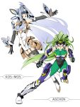 android aschen_brodel blue_hair boots breasts endless_frontier fighting_stance garter_belt garter_straps green_eyes green_hair highres kos-mos large_breasts long_hair multiple_girls ralsaz red_eyes simple_background super_robot_wars super_robot_wars_og_saga_mugen_no_frontier thigh_boots thighhighs very_long_hair xenosaga xenosaga_episode_iii
