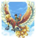 1boy bag brown_hair croagunk flying happiny happy highres ho-oh ibui_matsumoto mouth_hold open_mouth pokemon pokemon_(anime) pokemon_(creature) sky sudowoodo takeshi_(pokemon) vest