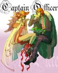 black_hair eating flower fork formal genderswap hat luffyko monkey_d_luffy nami necktie one_piece orange_hair ribbon salad samuraih straw_hat suit
