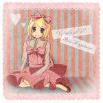 blonde_hair bow hair_bow highres kagamine_rin sayaka_(tick_tack_music) short_hair solo vocaloid