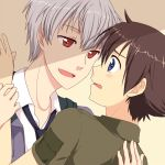 2boys akise_aru amano_yukiteru black_hair blue_eyes blush embarrassed eye_contact grey_hair hug incipient_kiss jacket looking_at_another male mirai_nikki multiple_boys naughty_face necktie no_hat no_headwear open_mouth red_eyes shirt short_hair shy silver_hair smile surprised wrist_grab yaoi