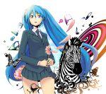 blazer blue_eyes blue_hair bowieknife hatsune_miku long_hair necktie saihate_(vocaloid) skirt twintails vocaloid zebra
