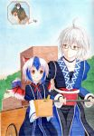2girls ahoge animal_ears bird_wings blue_sky box bridal_gauntlets cart choker colored_pencil_(medium) flying glasses japanese_clothes jeweled_pagoda kittona light_smile looking_at_another millipen_(medium) morichika_rinnosuke mouse_ears mouse_tail multicolored_hair multiple_girls nazrin red_eyes silver_hair sky tail tokiko_(touhou) touhou traditional_media watercolor_pencil_(medium) yellow_eyes