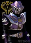 bell belt black_background character_name kamen_rider kamen_rider_ouja kamen_rider_ryuki_(series) male maru_(pixiv587569) mask snake solo
