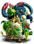 :3 :d bellossom black_hair brown_eyes erika_(pokemon) hairband holding holding_poke_ball japanese_clothes jumpluff kaosu0905 kimono open_mouth poke_ball pokemon pokemon_(game) pokemon_hgss roserade shiftry short_hair smile tangrowth victreebel