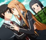 >:d 2girls :d asuna_(sao) black_eyes black_hair blazer brown_eyes brown_hair couple dutch_angle eye_contact hand_on_another's_chest hands_on_own_cheeks hands_on_own_face kirito long_hair looking_at_another multiple_girls open_mouth school_uniform short_hair smile sword_art_online yamaki_suzume yui_(sao)