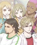 3boys barnaby_brooks_jr blonde_hair blush braid brown_eyes brown_hair dark_skin facial_hair glasses green_eyes hair_brush hair_ornament hairclip huang_baoling ivan_karelin kaburagi_t_kotetsu karina_lyle multiple_boys multiple_girls nathan_seymour pink_hair stubble sweatdrop tiger_&_bunny yukino_hai
