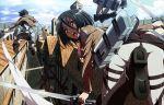building from_behind giant mikasa_ackerman nyoronyoro shingeki_no_kyojin sword town weapon