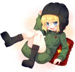>:d :d blonde_hair blue_eyes blush boots fang girls_und_panzer helmet katyusha long_sleeves meito_(maze) open_mouth pillow short_hair smile solo uniform